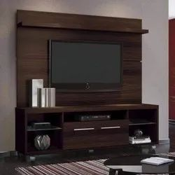 Brown Wooden Wall Mounted TV Unit