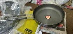 Krishna Enterprises Aluminium Hard Anodized Fry Pan, For Kitchen, Round