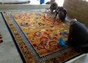 Pihue Creations Wool Tibetan Carpet Dragon With Phoenix, For Home