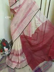 Party Wear Printed Block Print On Pure Cotton Kota Doria Saree, 6.3 m (with blouse piece)