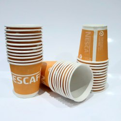 Orange Printed 85ml Disposable Paper Cups, Packet Size: 46