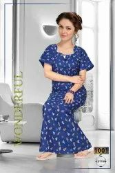 Printed Multicolor Women Cotton Night Gowns