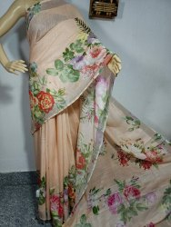 Linen Cotton Digital Printed Saree