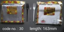 Polystyrene 100 Piece Disposable Plastic Antique Crystal Fork, For Event and Party Supplies