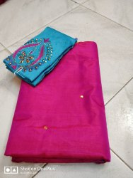 Party Wear Raw Silk Saree, 6.3 m (with blouse piece)