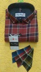 Very Bery Collar Neck Men Full Sleeves Check Shirt, Size: M, L.Xl