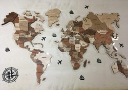 English Wold map wooden, Size: 5 Foot By 4 Foot, Vineer