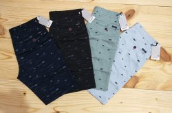 Knee Length Slim Fit Men Printed Cotton Shorts