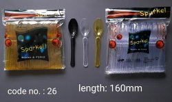 Plastic Sparkle Crystal Spoon, For Party And Event, Size: 160 Mm