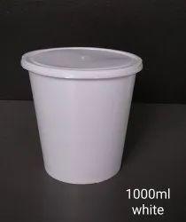 White Circular Airtight plastic Food Container 1000 Ml