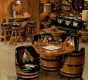 Brown Round Wooden Barrel Table, For Restaurant