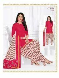 Formal Wear Red, Cream Ladies Patiala Salwar Suit, Patiyala