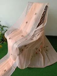 Embroidered COTTON FANCY EMBROIDERY SAREE, Without blouse piece, 5.4 m