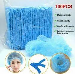 Blue Non Woven Bouffant Cap, Quantity Per Pack: 100 Pieces