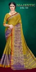 Pinky Factory Casual Wear Majestic Cotton Silk Saree, 6.3 m (with blouse piece)