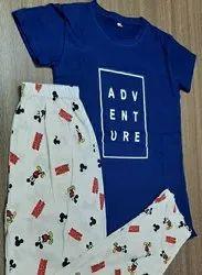 Cotton Printed Ladies Pajama Set Nightwear, Free Size
