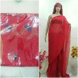 Red Party Wear Ladies Embroidery Chiffon Saree, 5.5 m (separate blouse piece)