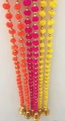 Pink,Orange and Yellow Silk Hand Breaded Hanging Tassel, For Decoration, Size: 2 Meter