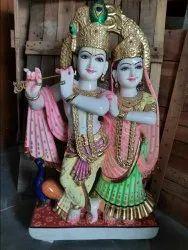Painted Marble Radha Krishan Statue