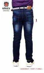 Hanex Designer Belt Denim Jeans For Men