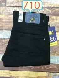 Heavy Knitted Fabric Black denim jeans, Machine Wash