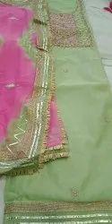 Chanderi Unstitched Dress Material Punjabi Suit