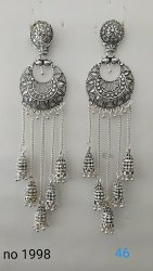 Cast Iron Silver  Oxidized Earrings