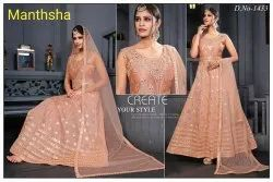 Modal Embroidered Designer Gown Style Anarkali Suit, Dry clean