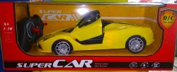 Yellow Plastic Remote Controlled Ferrari With Opening Doors