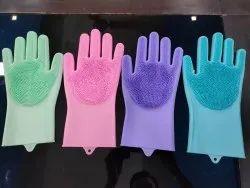 Siliconne Scrubbing Gloves, Design/Pattern: Plain Scrubber
