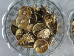 Mehndi colour Metal button, For Fancy Dress Orkurti, Size/Dimension: 30 Line