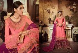 Pure Satin Georget Multicolor Sharara Suits