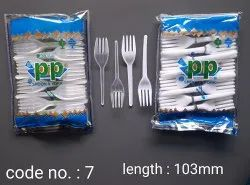 100 Piece White 103mm Disposable Polystyrene Fork, For Event and Party Supplies
