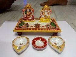 Handicrafts Multicolor Marble Laxmi Ganesh Statue, Size: 6'4'