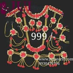 Red Paper Flowers Jui Pearls Flower Jewelry
