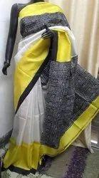 Hand Block Print On Tussar Silk Sarees