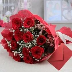 Red Rose Flower, Packaging Size: 10 Flowers Bouquet