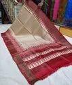 Hand Block Printed Tussar Ghicha Silk Zari Border Sarees
