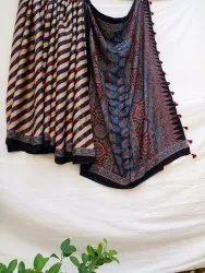 Party Wear Blue Ajrak Modal Silk Saree, 6.3 m (with blouse piece)