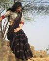 Bagru Hand Block Printed Cotton Mulmul Saree With