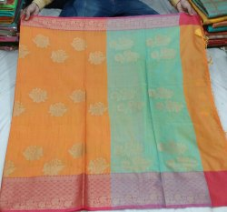 Party Wear Banarasi Chanderi Silk Sarees, 6.3 m (with blouse piece)