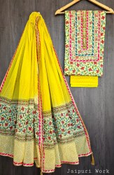 Rukman Arts Cotton Jaipur Gota Patti Suit Fabric, For Clothing