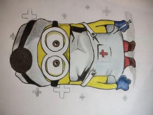 Cartoon colour pencil sketch