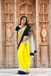 Hand Block Prints On Mulmul Cotton Sarees