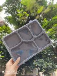 Plastic Black 5 Compartment Meal Tray