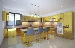 Stainless Steel Gold Mirror Finish Modular Kitchen