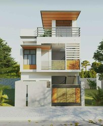 White Residential Frame Structure Building
