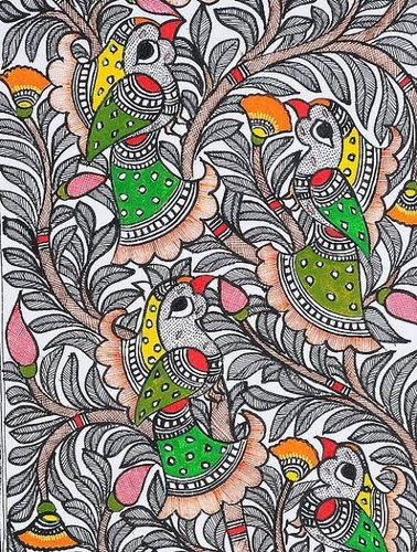 Handmade Paper 250gsm Madhubani Paintings, Size: 12x18