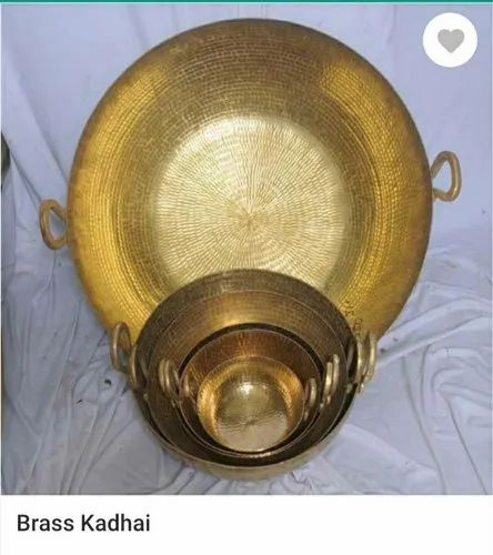 Golden Kadahi Brass kadai, For Home, Shape: Round