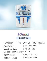 Blue Livmore Diamond Ro, For Domestic, Capacity: 14.1 L and Above